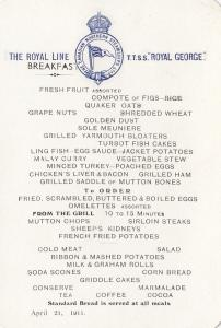 MENU , T.T.S.S. ROYAL GEORGE , Breakfast, 1911
