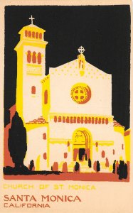G26/ Santa Monica California Postcard Hand-Made Serigraph Church 5