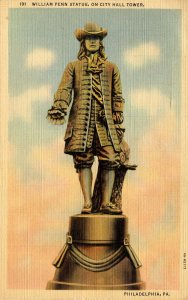 PA - Philadelphia. William Penn Statue on City Hall Tower
