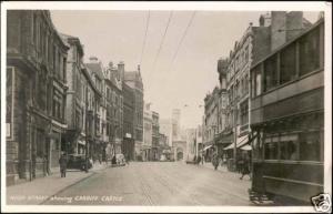 wales, CARDIFF, High Street, Tram (1950s) RPPC
