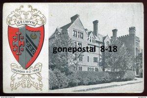 dc1579 - ENGLAND Cambridge 1910s Embossed SELWYN College Crest. Heraldic