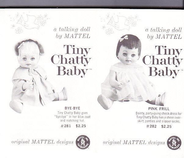 Mattel Tiny Chatty Baby Sales Literature