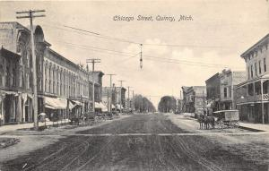 Quincy Michigan~Chicago Street~Owl/Advertisement on Bldg Wall~Horse Wagons~1908