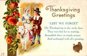 Thanksgiving With Pilgrim Couple 1912