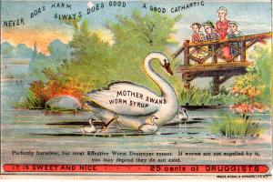 VICTORIAN TRADE CARD,  MOTHER SWANS WORM SYRUP.