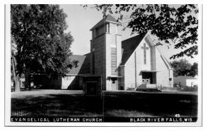 RPPC Evangelical Lutheran Church, Black River Falls, WI Real Photo Postcard *5A