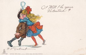 AS: VALENTINE, 1901-07s; Girl kissing surprised boy; TUCK