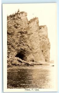 *Perce Quebec Canada Cliffs Rocks Cave Shore Vintage Photo Postcard C89
