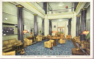 Michigan - Occidental Hotel Lobby - Muskegon