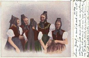 Germany Badische Volkstrachten Schwarzwälderinnen aus Kirchzarten 04.86