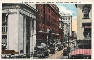 Granby St. from Main, Showing Atlantic Hotel, Norfolk, Virginia,  Early Postcard