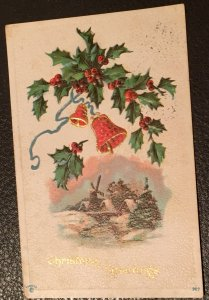 VINTAGE (1913) EMBOSSED CHRISTMAS POSTCARD with stamp