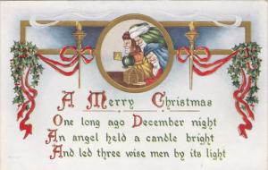 Merry Christmas, Holly, Three Wise Men with gifts, Red ribbons, Candles, 10-20s