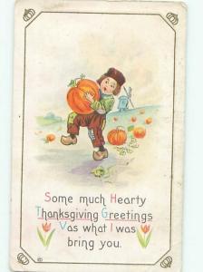 Pre-Linen Thanksgiving BOY CARRYING HOME A HALLOWEEN PUMPKIN AB4300