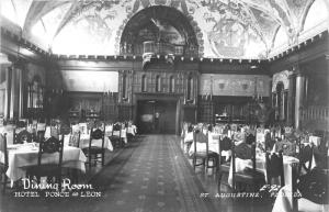St Augustine Florida~Hotel Ponce de Leon Dining Room~Sail Ships @ Wall~'40s RPPC