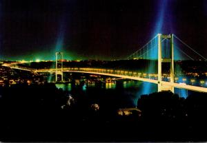 Turkey Istanbul The Bosphorus Bridge At Night