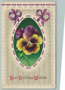 Flowers Greetings~Purple Yellow Pansies In Purple Ribboned Oval~Green Back~1913