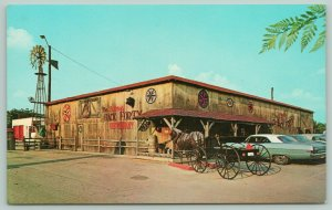 Decatur Indiana~Fairway Back 40 Restaurant~Giant Rooster~1960s Cars~Postcard
