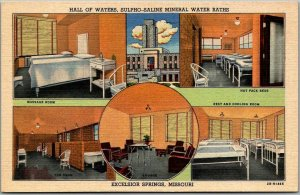 Excelsior Springs MO LInen Postcard HALL OF WATERS, Sulpho-Saline Mineral Baths
