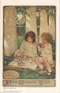 Children at 5 O'Clock Tea, Artist Signed, 1910, Jessie Wilcox Smith