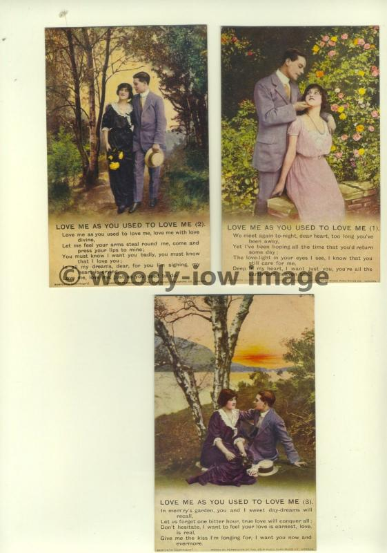 su1115 - Love Me As You Used To Love Me - Set of 3 Bamforth Songcard Postcards