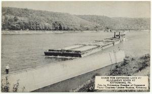 1930s Kittanning PA Tow Barge Entering Lock #7 Allegheny Armstrong Co Postcard