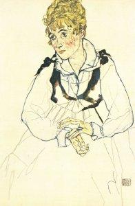 Egon Schiele Die Frau Des Kunstlers Painting POstcard