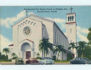 Unused Linen OLD CARS & CHURCH SCENE Daytona Beach Florida FL p4619