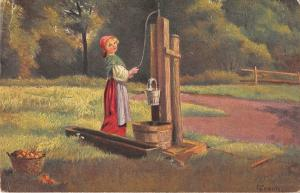BR78092 woman at water e frank am brunnen germany painting postcard