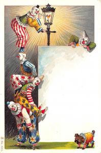 Clowns Performing Lighting Street Light Early #7012 Postcard