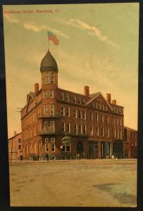 Postcard Unused Bellevue Hotel Marietta OH LB