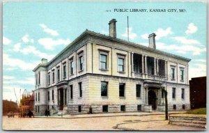 Kansas City, Missouri Postcard PUBLIC LIBRARY Street View Curteich c1910s