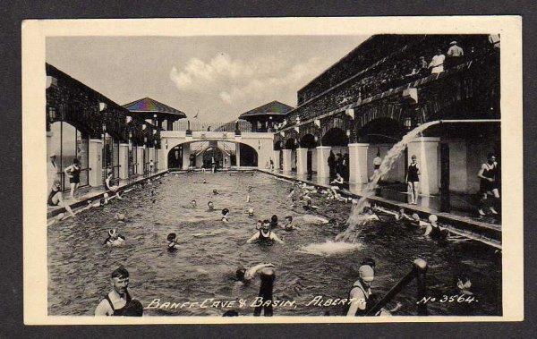 ALBERTA Canada Banff Cave Basin Swimming Pool Postcard Carte Postale AB