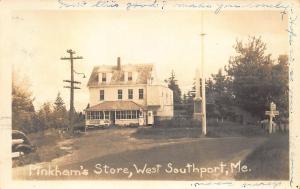 West Southport ME Pinkham's Store RPPC Postcard