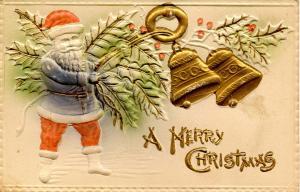 Greeting - Christmas, Santa Claus, Blue Coat
