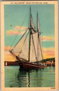 Old Coaster, Round for Portland Maine Sailing Ship Vintage Postcard Q14