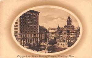 Canada Man. Winnipeg, City Hall and Union Bank of Canada