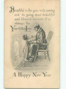 Divided-Back NEW YEAR SCENE Great Postcard AA2015