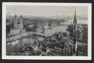 City at Water Edge Zurich und die Alpen SWITZERLAND RPPC Unused c1920s