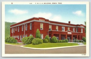 Erwin Tennessee~YMCA Building~Shrubs Along Side~1940s Postcard