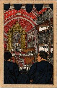 CPA Basques á l'Eglise FRANCE FOLKLORE (788728)