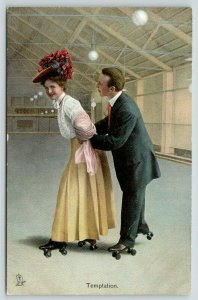 TUCK The Rollers Series~Rink~Victorian Roller Skating Couple~Temptation~1908