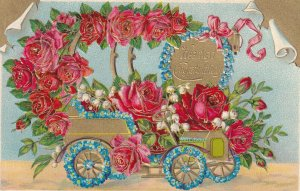 HEARTIEST CONGRATULATIONS,1900-10s; Convertable Flower Automobile, Roses, Whi...