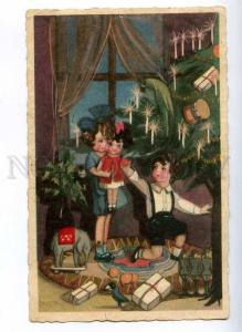 189602 ART DECO X-mas NEW YEAR Kids by CHIOSTRI Vintage PC