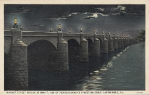 HARRISBURG , Pennsylvania, 1930-40s ; Market Street Bridge at Night