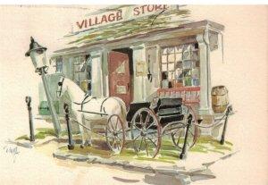 Postcard - Village Store Horse Drawn Carriage, Portland, Maine