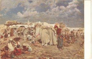 Gonzalo Bilbao. Arab camp in Morocco Fine painting, vintage Spanish postcard