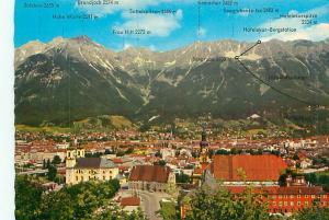 Postcard Austria Mountain Range With Elevations Aerial   Free Shipping  # 2391A
