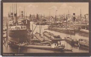Ships Docked in Harbor, Rijnhaven, Rotterdam, South Holland, Netherlands 1900...