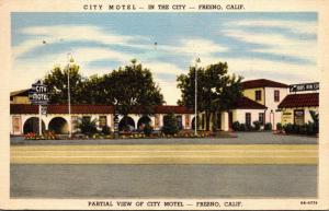 California Fresno City Motel 1950 Curteich